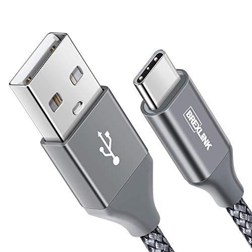 BrexLink USB C Kabel [2M], Nylon USB Type C Ladekabel für Samsung Galaxy Fold S10 S9 S8 Plus/Note 9 8, LG G6 V30, Huawei P9/P10/Mate9 10, Moto, Sony Xperia XZ, HTC 10/U11, Lumia 950 XL(Space Greu)
