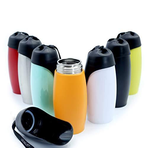 VIVAGLORY Auslaufsichere & tragbare Wasserflasche für Hunde, 750ML Hunde Trinkflasche mit großem Trog, Orange-Gelb