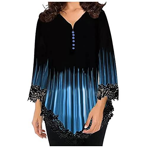 FOTBIMK Camiseta de mujer con borde de encaje y media manga para verano, casual, cuello en V, dobladillo suelto, plisados