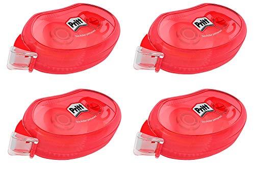 Pritt Kleberoller Compact permanent, hervorragende Klebeleistung, Premium-Band mit Klebstoffwaben, Bandlänge 10 m, Bandbreite 8,4 mm, Spar-Set mit 4 Kleberollern, 9H ZCGPB4X