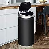 Ribelli Edelstahl Mülleimer - Abfalleimer mit Sensor - automatisches Öffnen und Schließen - Klemmring für Müllbeutel - Abnehmbarer Deckel - mit LED-Funktionsanzeige (schwarz, 30 Liter)