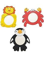 Gadpiparty 3 Piezas Espejo en Forma de Animal Espejo Juguete de Baño Lindo Peluche León Cangrejo Pingüino Forma Espejo Retrovisor Accesorios para Niños Bebé (Estilo Aleatorio)