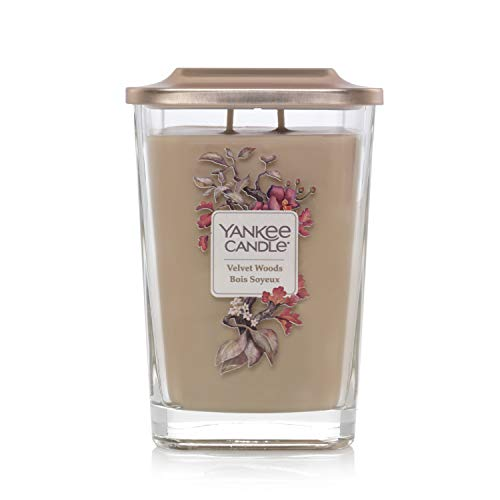 Yankee Candle Elevation Collection with Platform Lid Large Two Wick Square Scented Candle, Velvet Woods