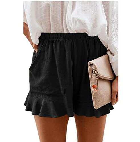 Pantalones Cortos Casuales De Verano para Mujer Pantalones Plisados De Cintura Alta De Color SóLido Sueltos
