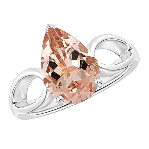 Shine Jewel 2.25 Ctw Pera Vástago Dividido de Piedras Preciosas de morganita Aureola Anillo apilable de Plata 925 (Oro Blanco, 12)