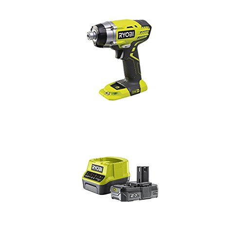 Ryobi One+ Impact Driver, 18 V with Lithium+ 2.0Ah Battery and Charger