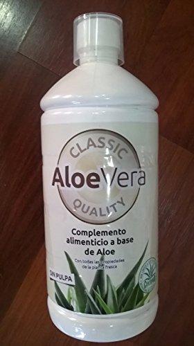Zumo puro ecológico de aloe vera sin pulpa, bio certificado.