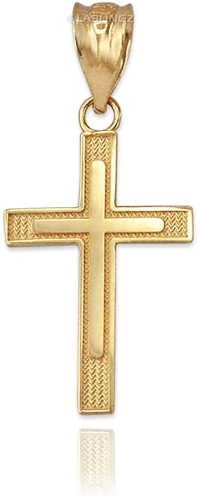 10K Yellow Gold Inner Cross Charm Necklace