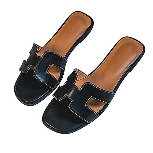YXCKG Sandalias De Verano Zapatillas De Mujer Sandalias Planas De Moda, Zapatilla Plana De Punta Abierta Cuadrada para Playa, Zapatos Casuales Deslizantes con Suela De Goma Suave