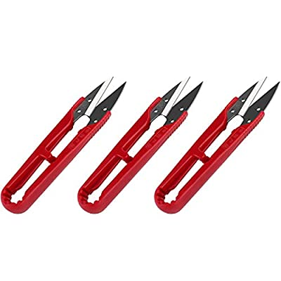 3 Pcs Premium Sewing Scissors, Mini Small Trimming Nippers, 4.2-inch Yarn Thread Snip cutter, Stainless Steel Embroidery Clippers, Great for Stitching, DIY, Plants, Craft. (Elegant Red?