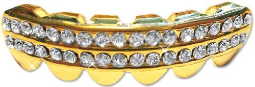 Hip Hop 14K Gold Plated Removeable Mouth Grillz Piece (Lower) Iced 2-Row