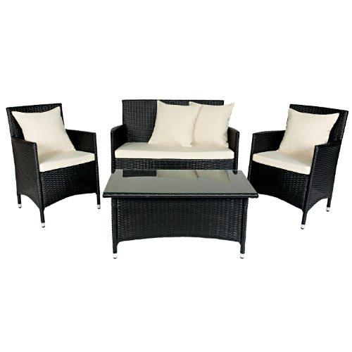 Handy Living 4-Piece Wicker Indoor/Outdoor Furniture Set, Cream