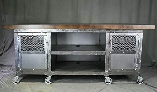 Industrial Modern Kitchen Island with Storage - Portable Urban...