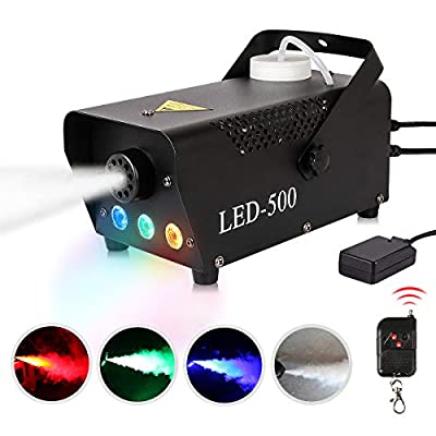 Fog Machine 500W Smoke Machine with RGB Mixed Color LED Lights Wireless Remote Control for Halloween Party Wedding Stage Effect
