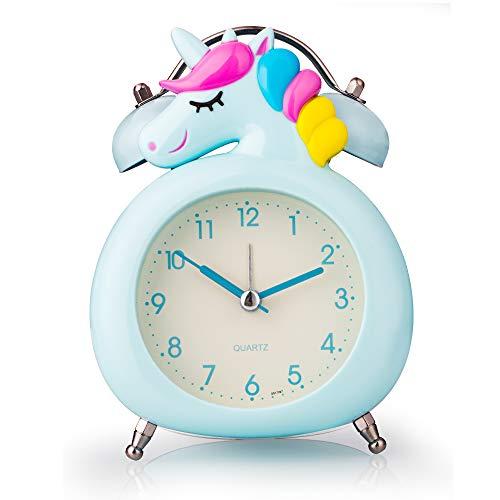Réveil pour enfants, silencieux, avec veilleuse et alarme, facile à installer et à piles, mignonne licorne double cloche décorative pour les filles, les étudiants chambre à coucher