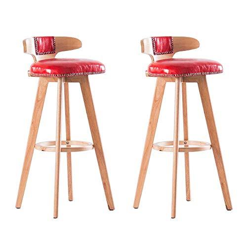 JIEER-C vrijetijdsstoelen barkruk set van 2 draaien hoge stoel massief hout eetkamerstoel PU-zitje keuken ontbijtbaar zithoogte 60 cm duurzaam sterk Wood color rood