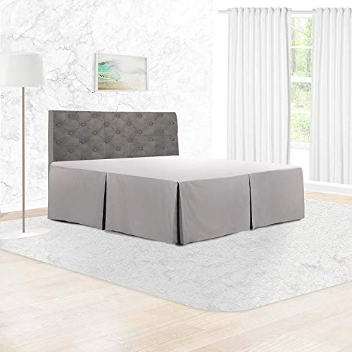 Adams Home Pleated Base Valance Sheet (Double, Silver) Durable Polycotton Bed Skirt - Luxuary 5 Box Pleated Bedskirt with 15 inch Drop, Washable Dust Ruffle Hotel Quality & Abrasion Resistant.