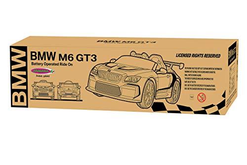 JAMARA 460473 - Ride-on BMW M6 GT3 - leistungsstarke Antriebsmotoren und Akku für Lange Fahrzeit, 3-Gang, Stoßdämpfer, AUX-Anschluss, Ultra-Grip Gummiring, LED-Scheinwerfer, weiß