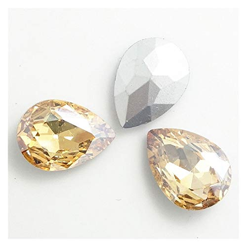 ZHAO Faceted Crystal Glass Rhinestones Teardrop Loose Beads Jewelry 7x10/10x14/13x18/18x25/20x30mm (Color : Champagne, Size : 10x14mm 15pcs)
