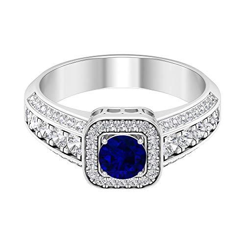 Anillo solitario de esmeralda de 5 mm, anillo de diamante HI-SI, anillo vintage de oro (calidad AAA), 14K Oro blanco, esmeralda, Size:EU 50