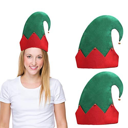 BELLE VOUS Gorro Navidad de Elfo con Cascabeles (Pack de 3) 28 x 27 cm Gorro Elfo Fieltro Verde con Zig Zag Rojo Diseñado para Adultos y Niños - Accesorio Disfraz Elfo Navidad, Regalo de Fiesta