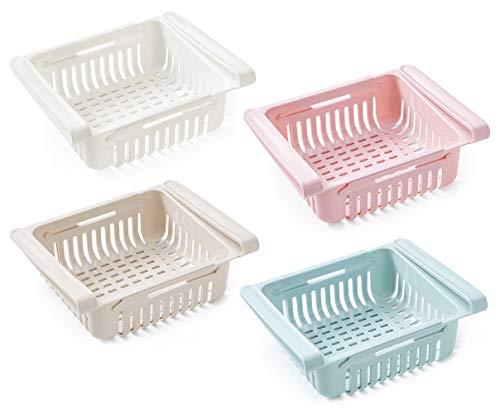 DMFSHI Kylskåpsorganisatör, utdragbar kyllåda, 4 st utdragbart kylskåpsförvaringsställ sparar utrymme och håller kylskåpet prydligt, passar de flesta kylskåp, frukt grönsaker mat hyllhållare (4 färguppsättning)