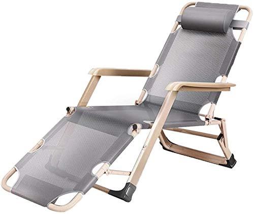 BATOWE Reclining Außenklappstühle Klappstuhl Moderne Minimalist Balkon Lounge Chair Siesta Stuhl Einzel-Sofa-Stuhl Klappliegestuhl (Color : Gray)