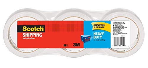 "Scotch Heavy Duty Packaging Tape, 1.88"" x 38.2 yd, Designed for Packing, Shipping and Mailing, Guaranteed to Stay Sealed, 3"" Core, Clear, 3 Rolls (3850S-3)"