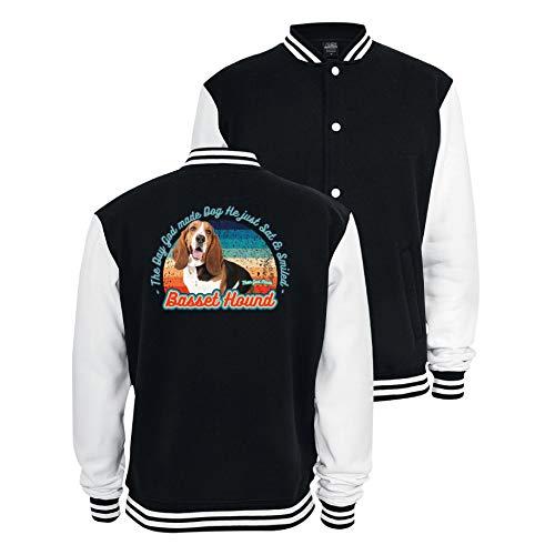 Gänseblümchendruck Hunde Sweat College Jacke Basset Hound Hush Puppy Dog Tiermotiv Rasse XS schwarz