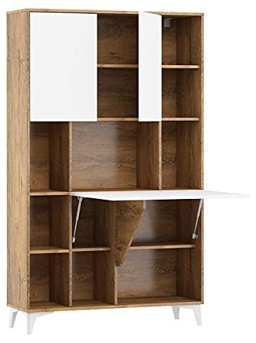 Megan - Escritorio plegable con 2 estantes, color roble y blanco brillante