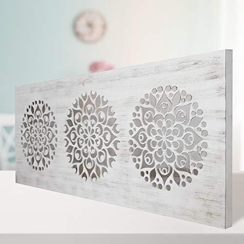 Mandala de Pared Calada, Fabricada artesanalmente en España- Mandala 3D Cuadrada Pintada a Mano- Modelo Mosaico 161 (Blanco Envejecido, 80X150)