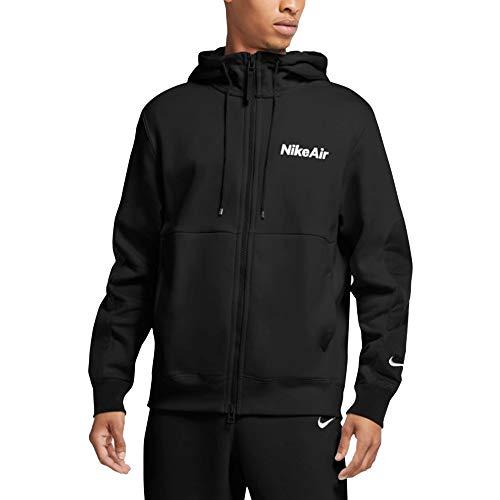 Nike M NSW Air Hoodie FZ FLC Felpa, Uomo, Black/Black/Black/(White), M