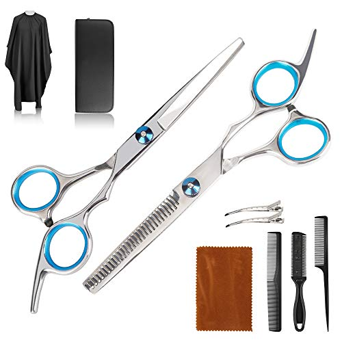 Haarschere Set, Scharfe Friseurscheren, Haarschnitt Frisörschere, Friseurscheren aus Edelstahl zum Ausdünnen und Strukturieren, Perfekter Profi Effilierschere für Damen, Herren und Kinder