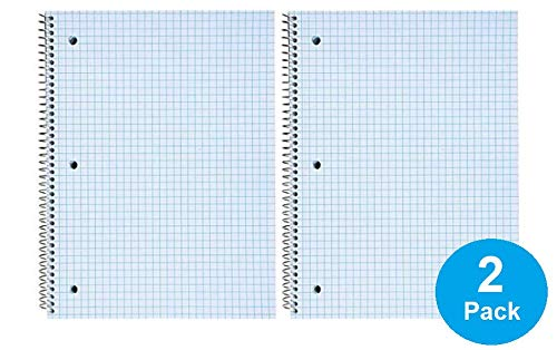 "1InTheOffice Graph Ruled Spiral Notebook, Quad Ruled Notebook Spiral, 100 Sheets, 8""H x 10 1/2""W""2 Pack"""