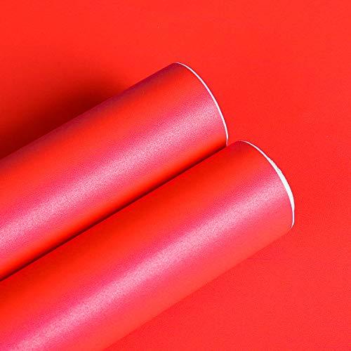 Livelynine Papel pintado rojo, lámina decorativa para muebles, autoadhesiva, lámina para cocina, nevera, dormitorio, muebles, armarios, pared, decoración retro, papel pintado lavable, 40 cm x 2 m