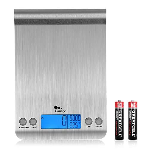 himaly 5kg/1g Balance Cuisine Balances de Cuisine/pâtisserie Electronique Numérique Haute Précision en Acier Inoxydable Ecran LCD Rétroéclairé Fonction Tare Conversion Liquide Argent