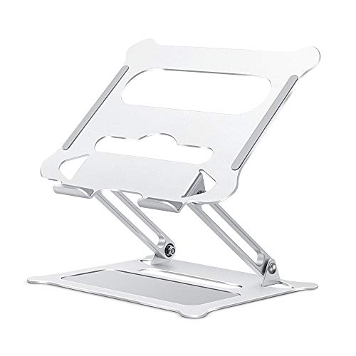 Adjustable Laptop Stand for Desk, Ergonomic Portable Aluminum Laptop Desk Stand, Non-Slip, Stable, Foldable Laptop Riser, Compatible with MacBook Pro/Air and More Notebooks in 10'-17' - Silver