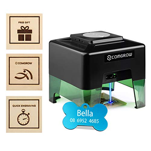 Comgrow Laser Engraving Machine Mini Laser Engraver Machine Quick Engraving Mode for Dog Tag Wood Kraft Paper Card Compact Desktop Laser Carving Etcher Printer Cutter Personalized Engraving Tool