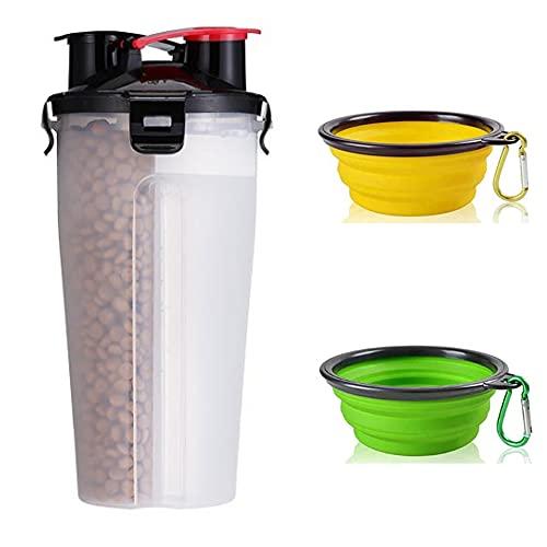 EvejoyShop Cuencos para perros de viaje, recipiente para alimentos para animales domésticos 2 en 1 con cuencos para perros plegables, bebedero portátil para alimentos (blanco)