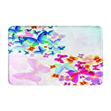 Marutuki Alfombra Decorativa para el Baño,Coloridas Mariposas voladoras Impresión gráfica de Cuento de Hadas,Alfombra de Baño Suave Antideslizante Micro Felpa,80 x 49 cm