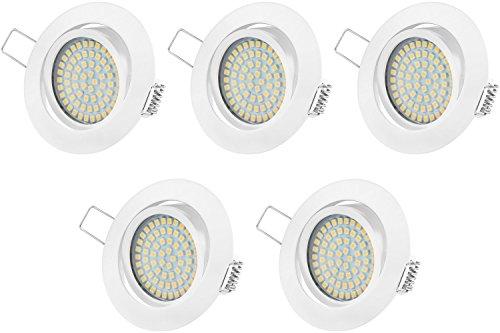 Ultra Flach LED Einbaustrahler Tolles Design Warmweiß 3.5W 230V Schwenkbar Einbauspots Einbauleuchten (Weiss Rund) 5er Pack