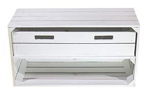 Moooble breites, weißes Schuhregal mit Schublade   74,5x40x31 cm   schöne, stapelbare Obstkiste als Ablage, Sideboard oder Dekoration (1)