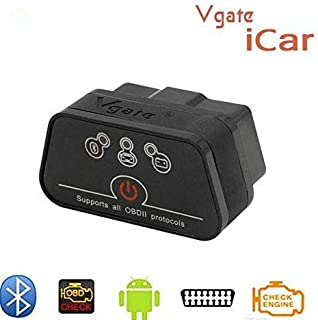 Robostore India iCar 2 Bluetooth OBD II ARM Based Auto Diagnostic Tool with Power Switch for Android Devices, car scanner for car, batter than elm327 (BT Black vgate with SW)