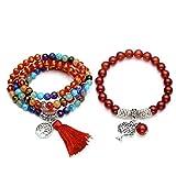 CrystalTears Perlenarmband Set 108 Perlen mala Kette + Yoga Armband Lebensbaum Chakra Gebetskette Strecharmband Damen Schmuck (Karneol)