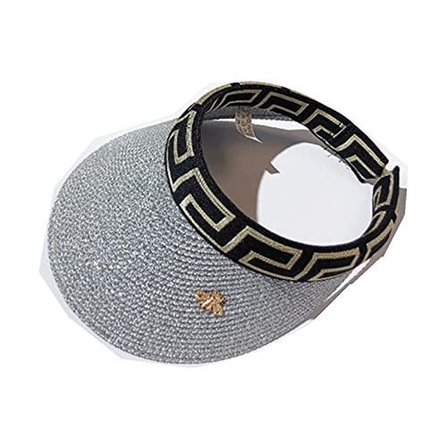 UKKD Sombrero De Copa Vacío Mujer Sun Sombreros Anti-UV Visor Caps Casual Vacío Sombrero Top-Silver,56-58Cm