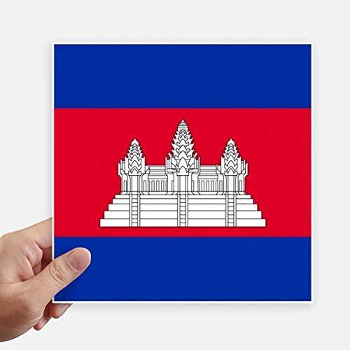 DIYthinker Drapeau Cambodianational Asie Country Square Autocollants 20CM Mur Valise pour Ordinateur Portable Motobike Decal 4Pcs 20Cm X 20Cm Multicolor