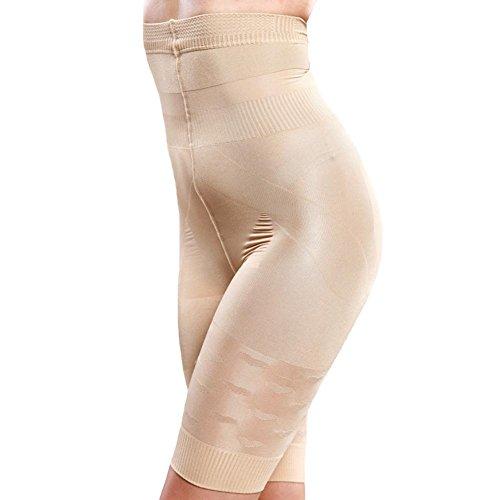 Boolavard Miederhose langbein Bauchweg Shape Hose stützt hebt 34-46+ Miederfunktionswäsche Miederhose (S, Beige)