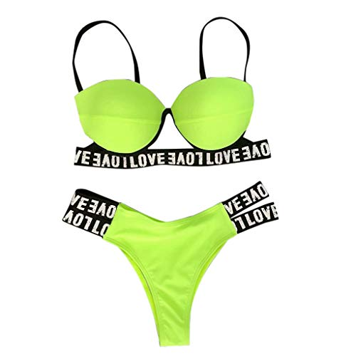 TOPUNDER Women Sexy Fashion Letter Printing Push-Up Padded Bra Beach Bikini Set Swimsuit Green