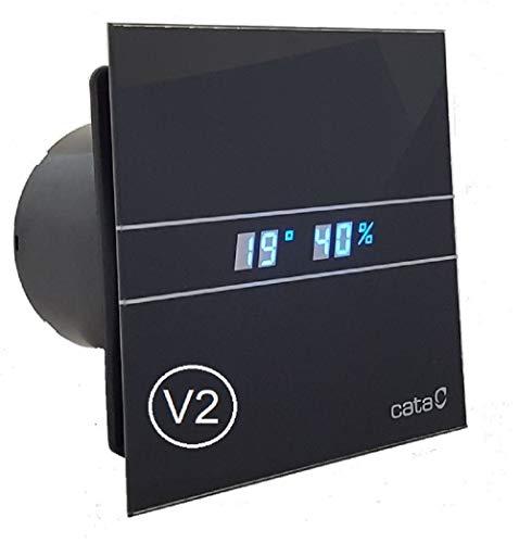 CATA E-100-GTH BK 00900602 V2 Badlüfter Nachlauf Feuchtesensor LED Anzeige Display Front - echtes Glas (Ø 100, Schwarz/Black)