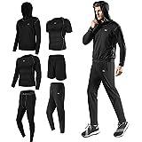 Superora 6 stück Fitness Bekleidungssets für Herren Workout-Kleidung Outfit Fitness Bekleidung Gym Outdoor,schwarz,XL